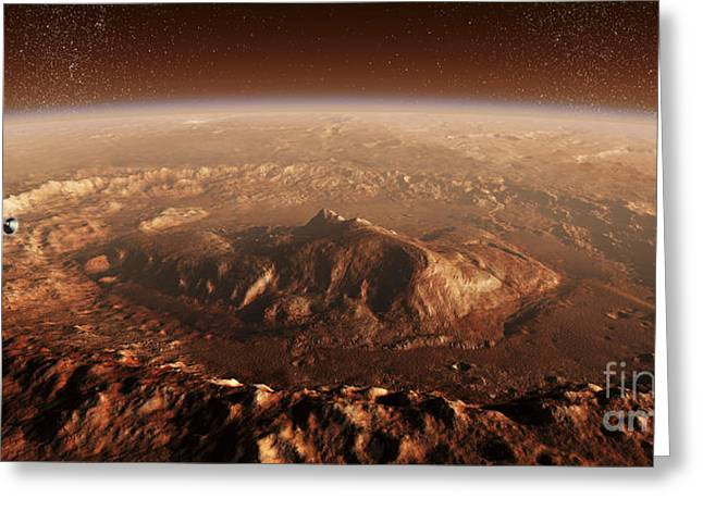 Geology Digital Art Greeting Cards - Curiosity Rover Descending Into Gale Greeting Card by Steven Hobbs