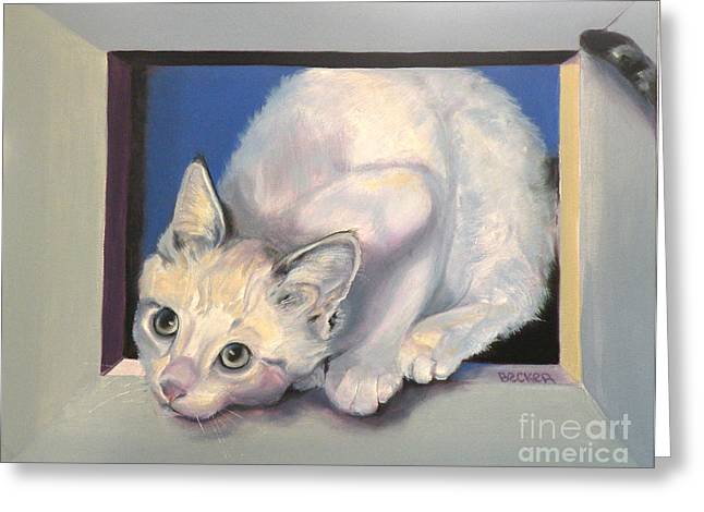 Cat Prints Drawings Greeting Cards - Curiosity Greeting Card by Susan A Becker
