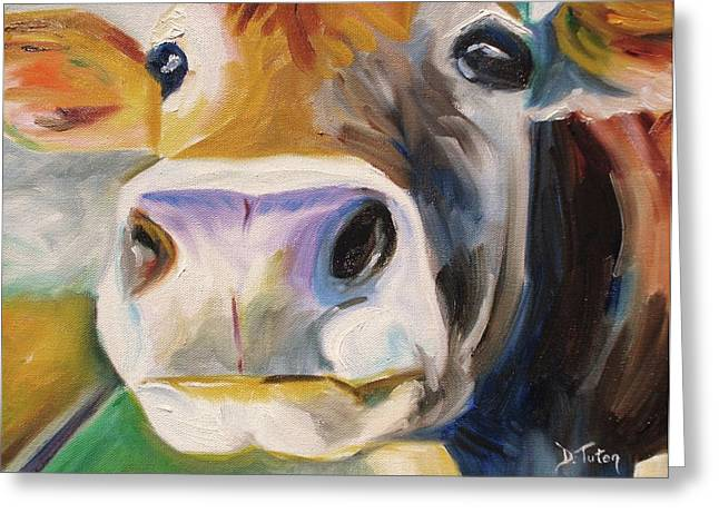 Cow Images Greeting Cards - Curious Cow Greeting Card by Donna Tuten