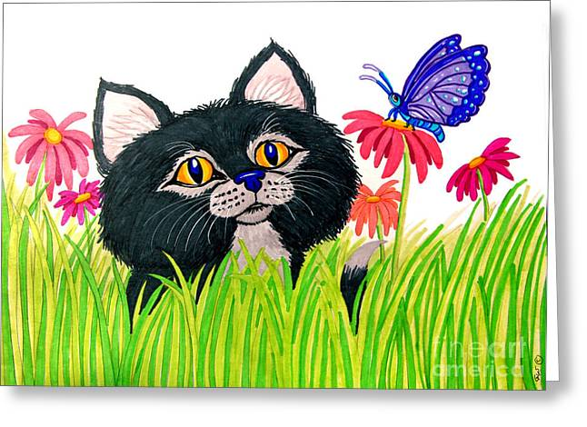 Kitten Drawings Greeting Cards - Curious Kitten and Butterfly Greeting Card by Nick Gustafson