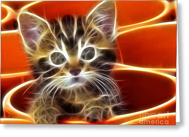 Feline Mixed Media Greeting Cards - Curious Kitten Greeting Card by Pamela Johnson
