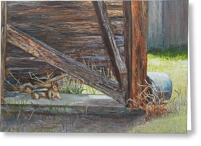 Shed Paintings Greeting Cards - Curious Greeting Card by Roseann Gilmore