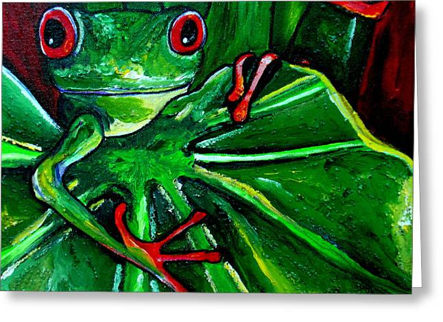 Tree Frogs Greeting Cards - Curious Tree Frog Greeting Card by Patti Schermerhorn