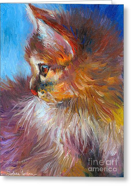 Impressionistic Poster Greeting Cards - Curious Tubby Kitten painting Greeting Card by Svetlana Novikova