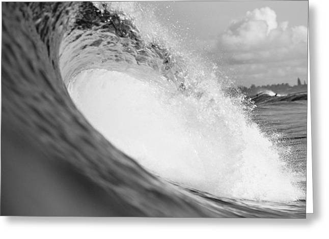 Ocean Art Photos Greeting Cards - Curling Wave - BW Greeting Card by Ali ONeal - Printscapes
