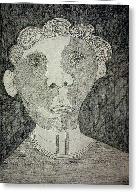 Indoor Drawings Greeting Cards - Curly Haired Man Greeting Card by Anon Artist