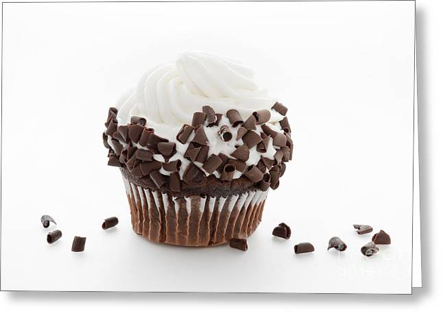 Frosting Greeting Cards - Curly Q Chocolate Cupcake Greeting Card by Andee Design