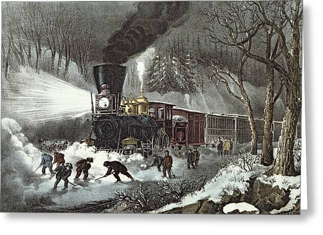 Snowfall Greeting Cards - Currier and Ives Greeting Card by American Railroad Scene