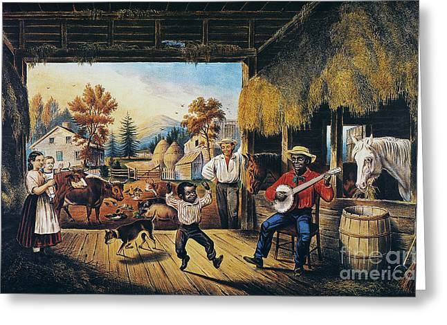 Barn Dance Greeting Cards - Currier & Ives: Barn Dance Greeting Card by Granger