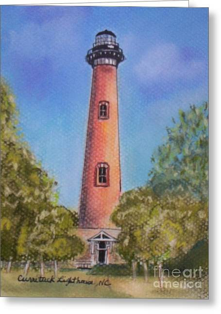 Rust Pastels Greeting Cards - Currituck Lighthouse NC Greeting Card by Julie Brugh Riffey
