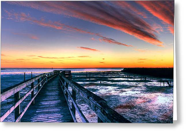 ist Photographs Greeting Cards - Currituck Sound Sunset Panorama Greeting Card by Dan Carmichael