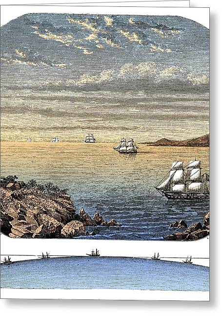 Ocean Sailing Greeting Cards - Curvature Of The Surface Of The Sea Greeting Card by David Parker