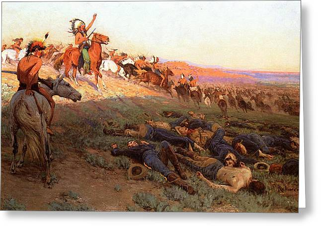 Custer's Last Stand Greeting Card by Richard Lorenz