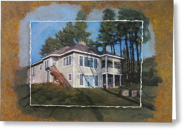 Lake House Mixed Media Greeting Cards - Custom home 1 layered Greeting Card by Anita Burgermeister