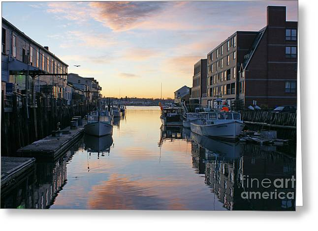 Old Maine Houses Greeting Cards - Custom House Sunrise 2 Greeting Card by Maria Varnalis
