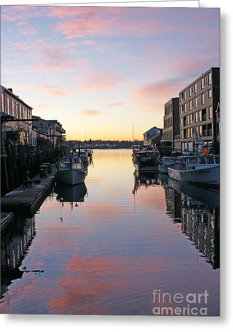 Old Maine Houses Greeting Cards - Custom House Sunrise Greeting Card by Maria Varnalis