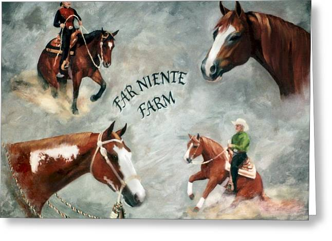Custom Horse Portrait Greeting Cards - Custom Riding Arena Welcome Sign Greeting Card by Kim Corpany