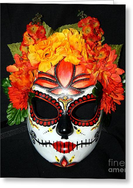 Belly Sculptures Greeting Cards - Custom Sugar Skull Mask 2 Greeting Card by Mitza Hurst