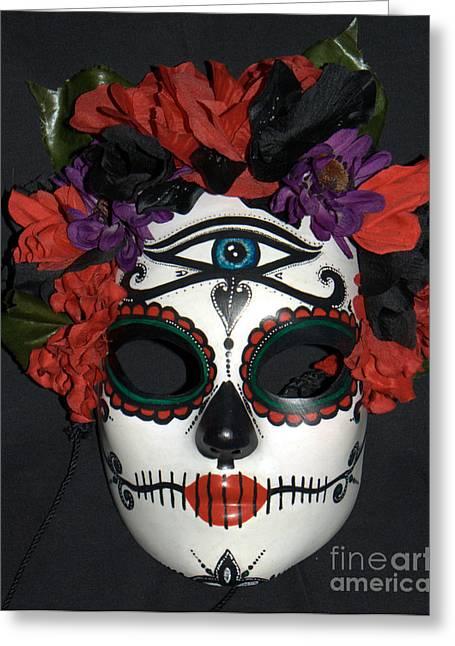 Belly Sculptures Greeting Cards - Custom Sugar Skull Mask 3 Greeting Card by Mitza Hurst