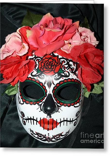 Belly Sculptures Greeting Cards - Custom Sugar Skull Mask Greeting Card by Mitza Hurst