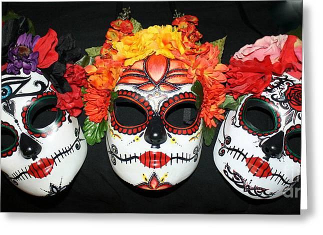 Belly Sculptures Greeting Cards - Custom Trio Sugar Skull Masks Greeting Card by Mitza Hurst