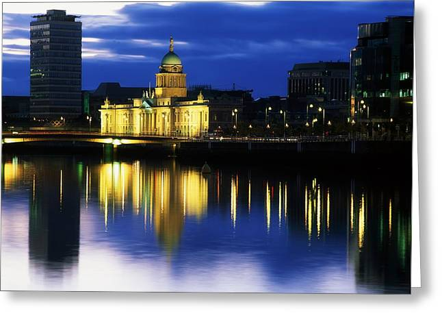 Reflection Of Sun In Clouds Greeting Cards - Customs House And Liberty Hall, River Greeting Card by The Irish Image Collection