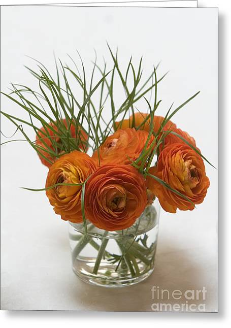 Glass Vase Greeting Cards - Cut Flowers Greeting Card by Alex Rowbotham