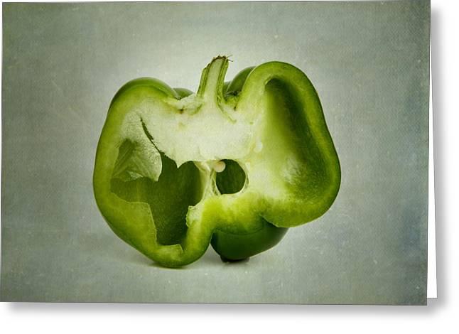 Singly Greeting Cards - Cut green bell pepper Greeting Card by Bernard Jaubert