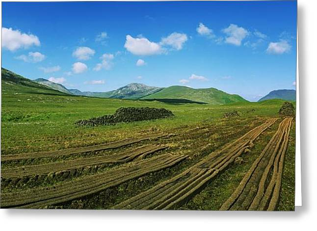 Cut Turf On A Landscape, Connemara Greeting Card by The Irish Image Collection