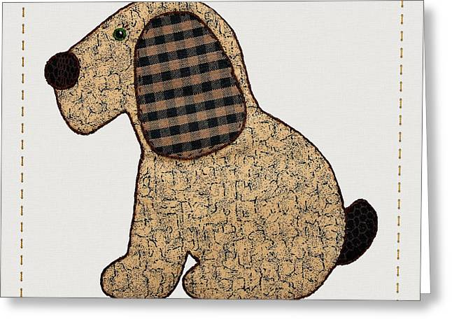 Cute Country Style Gingham Dog Greeting Card by Tracie Kaska
