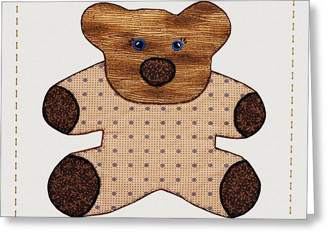 Cute Country Style Teddy Bear Greeting Card by Tracie Kaska