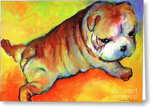 Art Prints Drawings Greeting Cards - Cute English Bulldog puppy dog painting Greeting Card by Svetlana Novikova