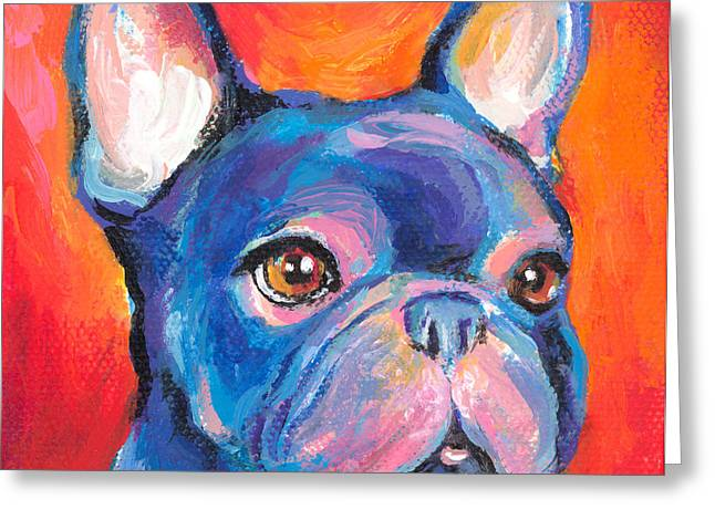 Best Sellers -  - Puppies Greeting Cards - Cute French bulldog painting prints Greeting Card by Svetlana Novikova