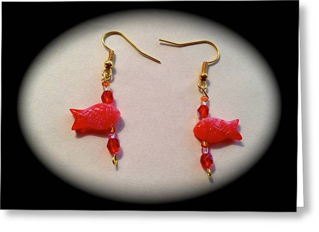 Fish Jewelry Greeting Cards - Cute red fishes earrings Greeting Card by Pretchill Smith