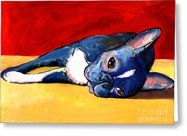 Dog Portraits Greeting Cards - Cute sleepy Boston Terrier dog painting print Greeting Card by Svetlana Novikova