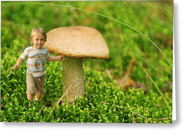 Moss Greeting Cards - Cute tiny boy playing in the forest Greeting Card by Jaroslaw Grudzinski