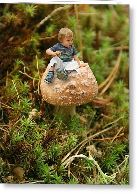 Beautiful People Greeting Cards - Cute tiny boy sitting on a mushroom Greeting Card by Jaroslaw Grudzinski