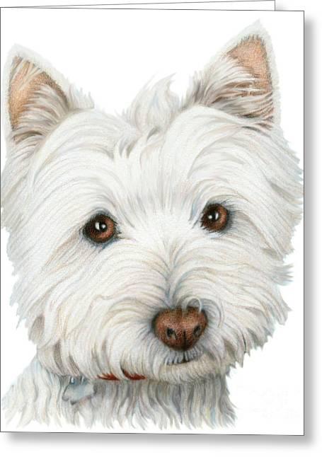 Westie Digital Art Greeting Cards - Cute Westie Dog Art Greeting Card by Ckeen Art