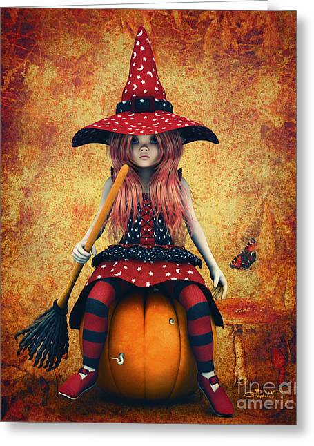 3d Render Greeting Cards - Cutest Little Witch Greeting Card by Jutta Maria Pusl