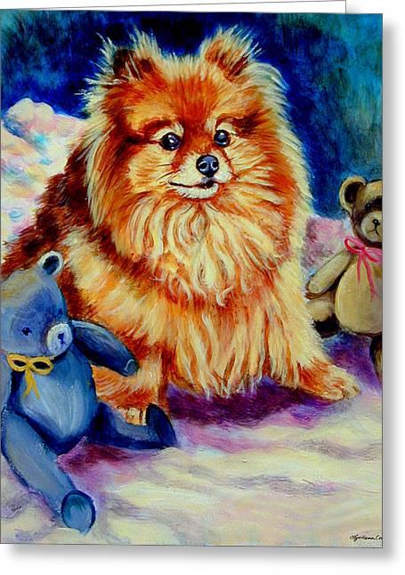 Pomeranian Greeting Cards - Cutie Pie - Pomeranian Greeting Card by Lyn Cook