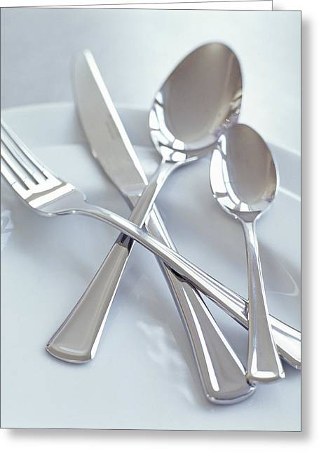 Teaspoon Greeting Cards - Cutlery Greeting Card by David Munns