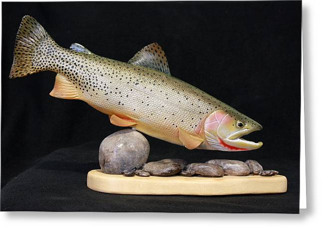 Lakes Sculptures Greeting Cards - Cutthroat Trout on the Rocks Greeting Card by Eric Knowlton