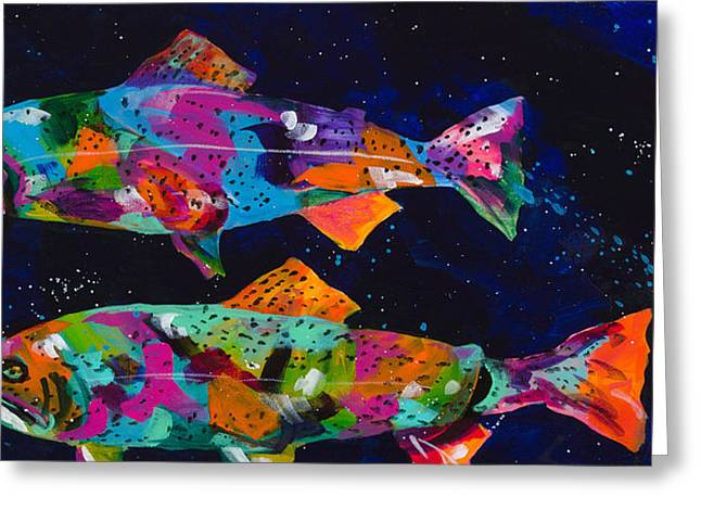 Splashy Paintings Greeting Cards - Cutthroats Greeting Card by Tracy Miller
