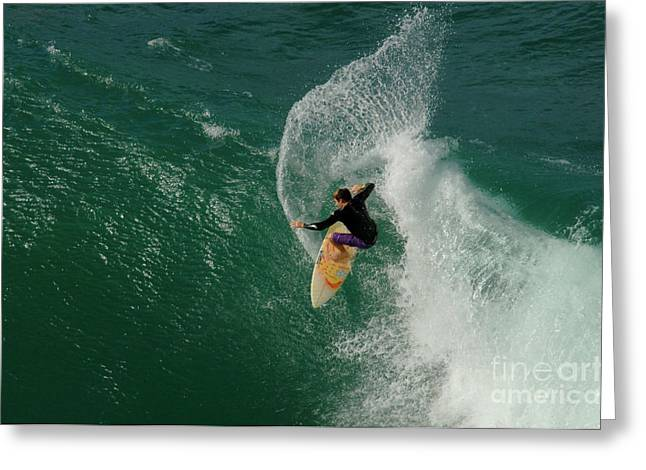 Surfing Photos Greeting Cards - Cutting Back Greeting Card by Bob Christopher