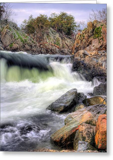 """great Falls"" Greeting Cards - Cutting Through the Rock Greeting Card by JC Findley"