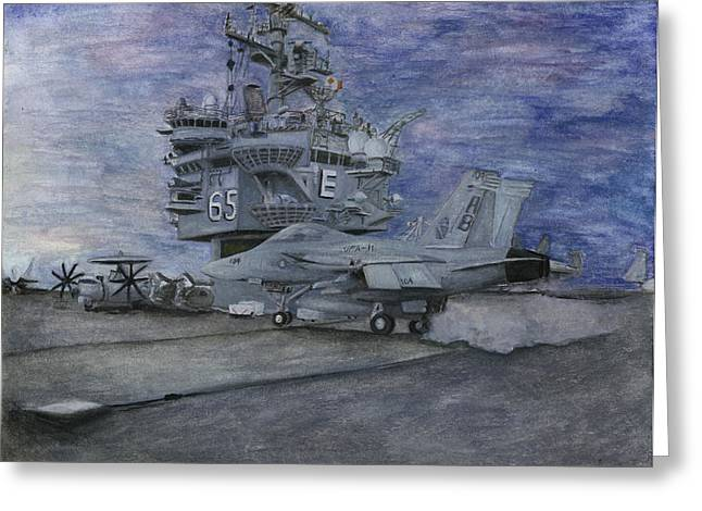 CVN 65 USS ENTERPRISE Greeting Card by Sarah Howland-Ludwig