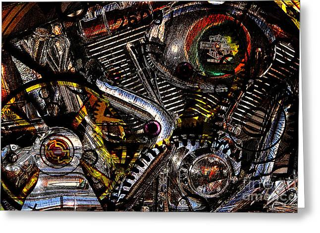 Cyberpunk Harley-Davidson Modified In Abstract . 7D12658 Greeting Card by Wingsdomain Art and Photography