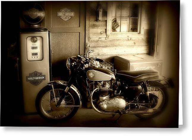 Fine Art Greeting Cards - Cycle Garage Greeting Card by Perry Webster