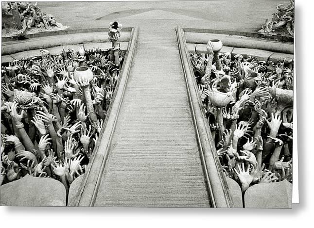 Cycle Of Rebirth At Wat Rong Khun In Thailand Greeting Card by Shaun Higson