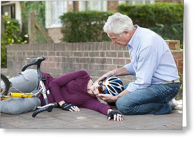 Mid Adult Women Greeting Cards - Cycling Accident Greeting Card by